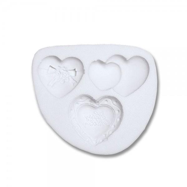 Prägeform  Herzen ca. 3,5–4,5 cm Weiß 3er-Reliefform