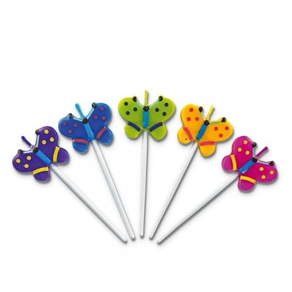 Kerze Schmetterlinge ca. 3 x 7,5 cm Bunt Sticks Set, 5-teilig