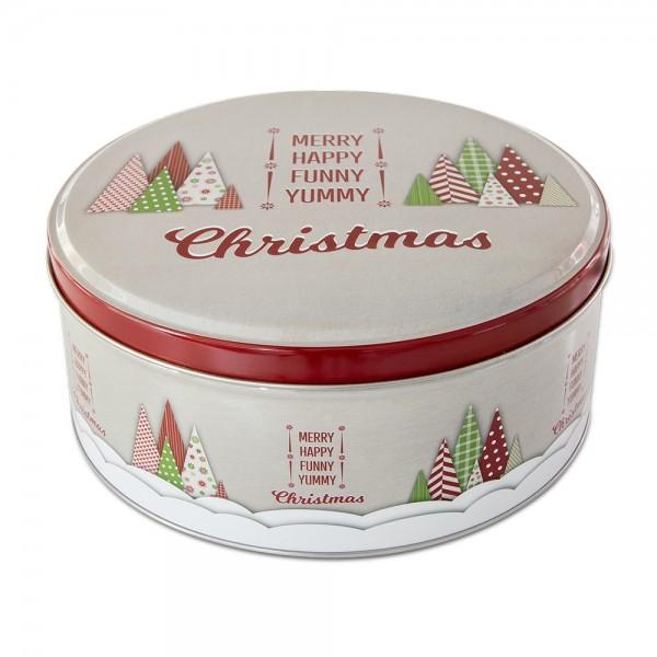 Plätzchendose Yummy Christmas ca. ø 22 x 9,5 cm Bunt Rund
