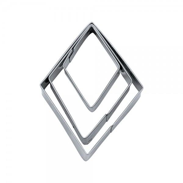 Ausstecher Rhombus ca. 3 / 5 / 7 cm glatt Set, 3-teilig