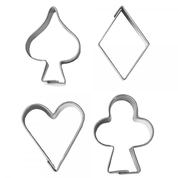 Ausstecher Spielkarten-Symbole ca. 3 cm Set, 4-teilig