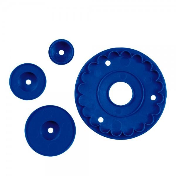 Prägestempel Rüschen / Volant ca. 8,5 cm Blau Set, 4-teilig