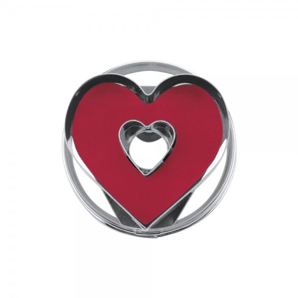 Ausstecher Herz mit Innenherz ca. 4,8 cm zerlegbar