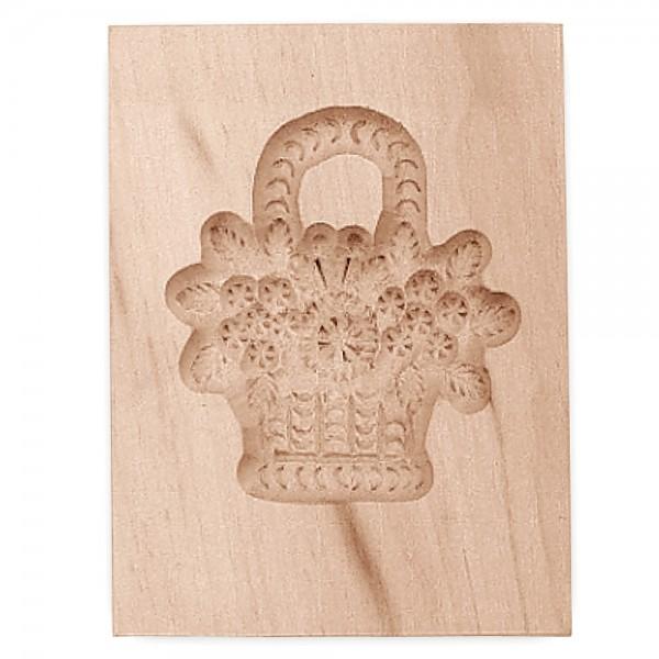 Holz-Prägeform Blumenkorb ca. 5,5 x 8 cm