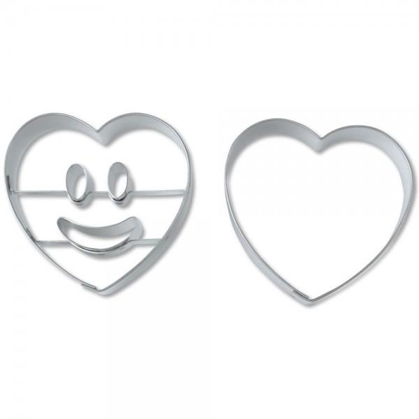 Prägeausstecher Lachendes Herz ca. 5,5 cm Set, 2-teilig
