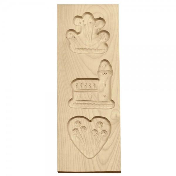 Holz-Prägeform 3 Motive ca. 9 x 25 cm