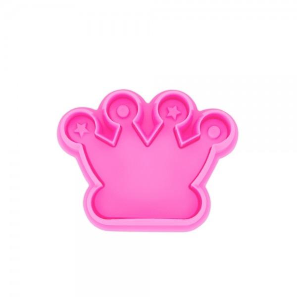 Prägeausstecher Krone ca. 6 cm Pink