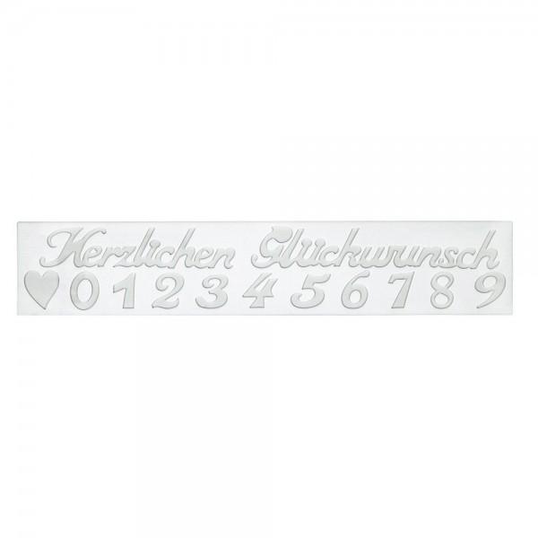 Dekormatte Herzlichen Glückwunsch ca. 39,5 x 7,5 cm Weiß Sili