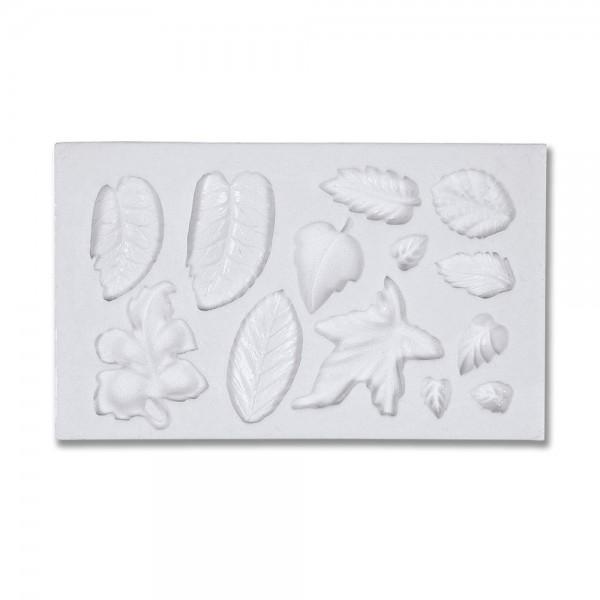 Prägeform  Blätter ca. 1–3 cm Weiß 13er-Reliefform