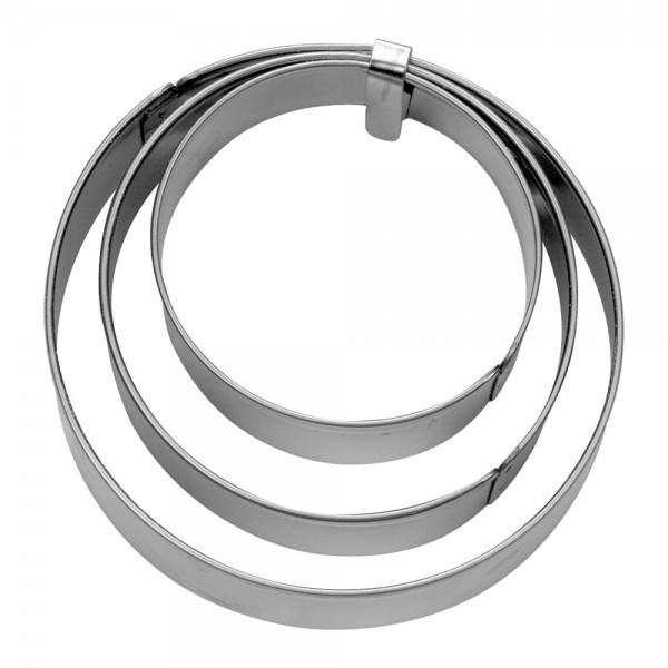 Ausstecher Ring ca. 3 / 4 / 5 cm glatt Set, 3-teilig