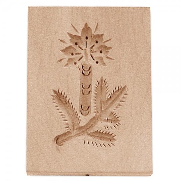 Holz-Prägeform Zweig mit Kerze ca. 5,5 x 8 cm