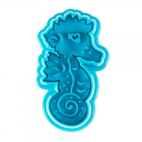 Prägeausstecher Seepferdchen ca. 5,5 cm Blau