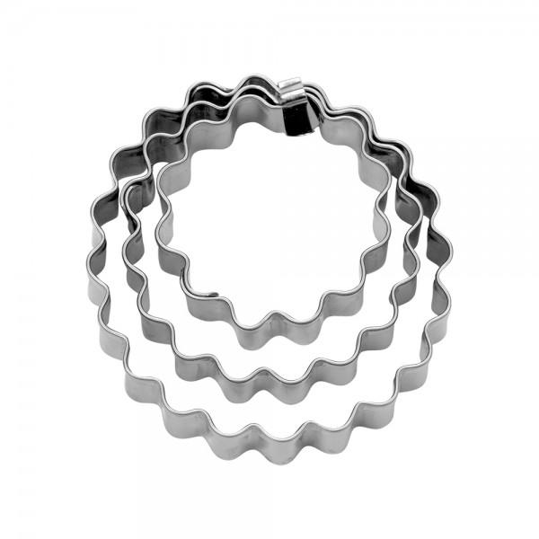 Ausstecher Ring ca. 3,5 / 5 / 6 cm gewellt Set, 3-teilig