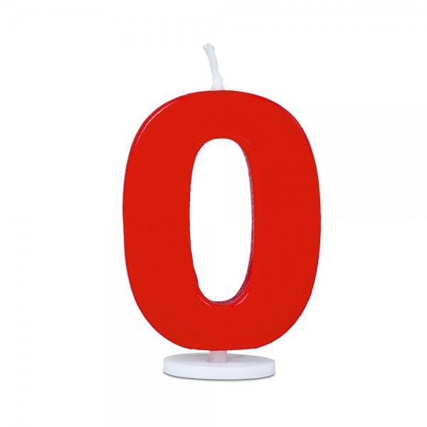 Kerze Ziffer 0 ca. 4,5 cm Rot mit Halter