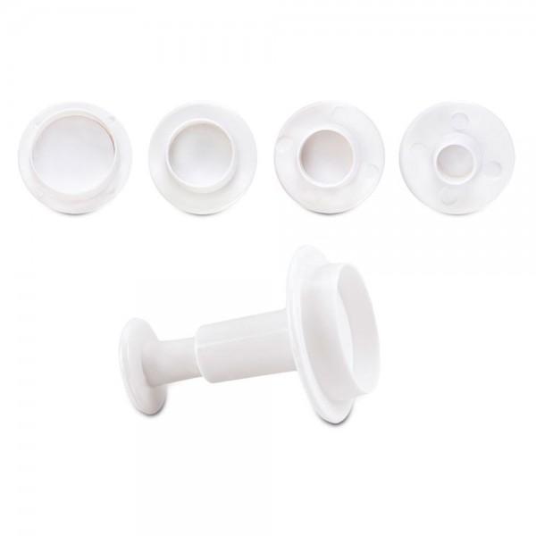 Ausstecherset Kreise / Rund ca. 7 / 10 / 13 / 22 mm Weiß Set, 4-teilig