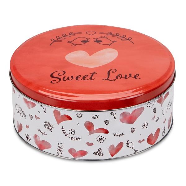 Plätzchendose Sweet Love ca. ø 22 x 9,5 cm Bunt Rund