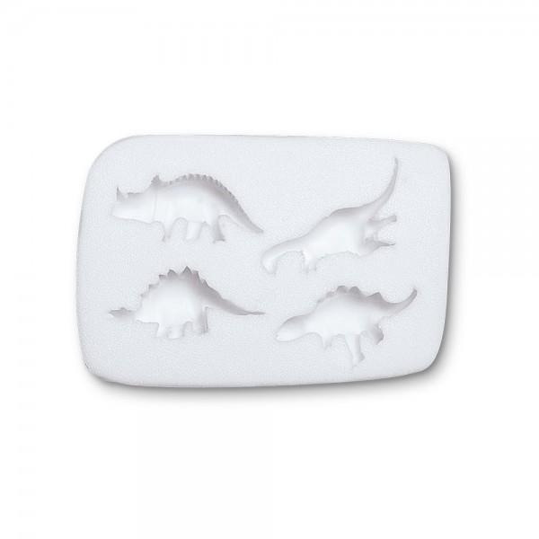 Prägeform  Dinosaurier ca. 3,5 cm Weiß 4er-Reliefform