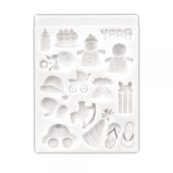 Prägeform  Baby ca. 1,5–3 cm Weiß 16er-Reliefform