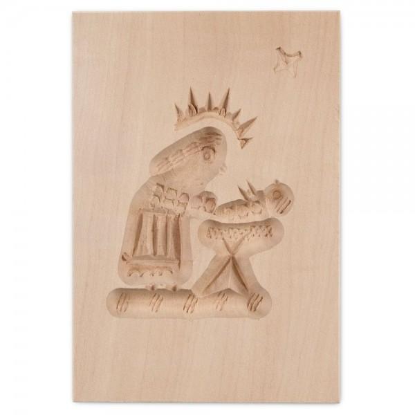 Holz-Prägeform Maria mit Krippe ca. 5,5 x 8 cm