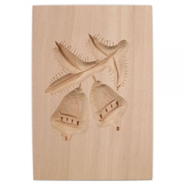 Holz-Prägeform Zweig mit Glocken ca. 5,5 x 8 cm