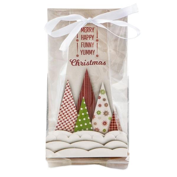 Geschenktüte Yummy Christmas ca. 9 x 25 cm Transparent Set, 24-teilig