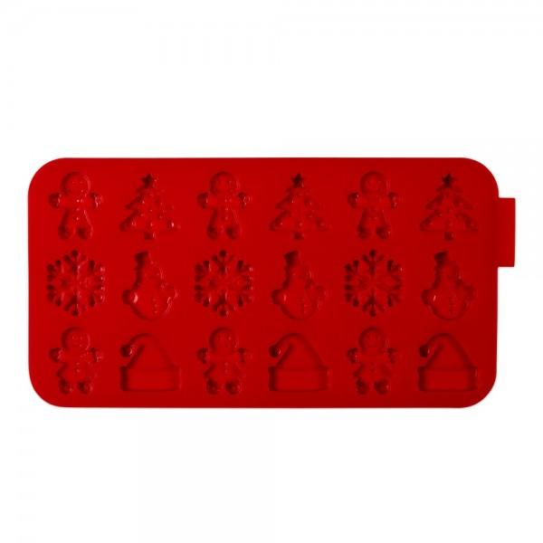 Schokoladenform Weihnachten ca. 22,5 x 12 cm Rot Silikon