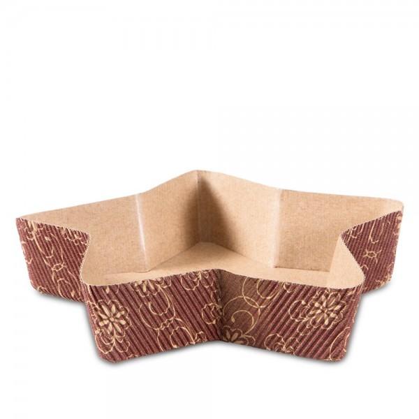 Papierbackform Stern ca. ø 17 cm / H 3,5 cm Braun 4 Stück