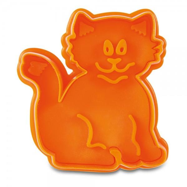 Prägeausstecher Katze ca. 6,5 cm Orange