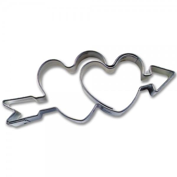 Prägeausstecher Doppeltes Herz mit Pfeil ca. 6 cm
