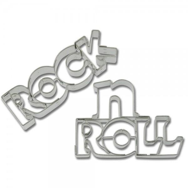 Prägeausstecher Rock''n''Roll-Schriftzug ca. 7 / 7,5 cm 2-teilig