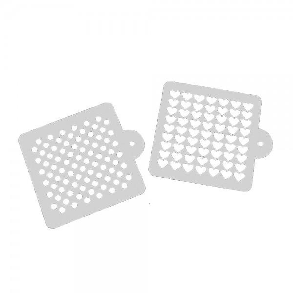 Schablone Herz & Punkt ca. 12,5 x 12,5 cm Weiß Set, 2-teilig