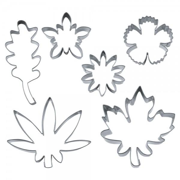 Ausstecher Blüten & Blätter ca. 4,5–8 cm Set, 6-teilig