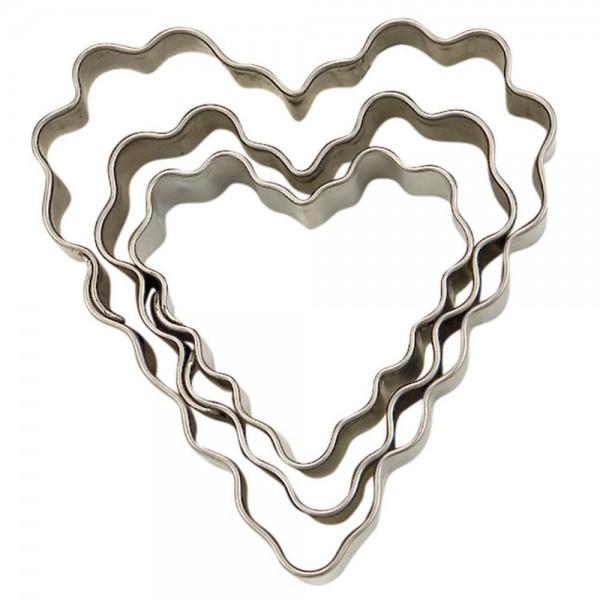Ausstecher Herz ca. 3,5 / 4,5 / 6 cm gewellt Set, 3-teilig