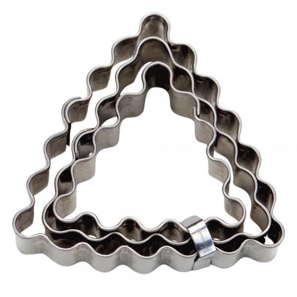 Ausstecher Dreieck ca. 4 / 5 / 6 cm gewellt Set, 3-teilig