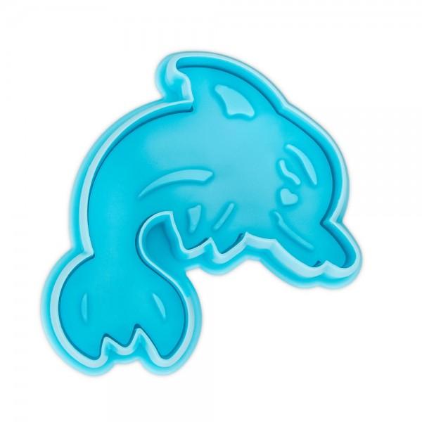 Prägeausstecher Delfin ca. 6,5 cm Hellblau